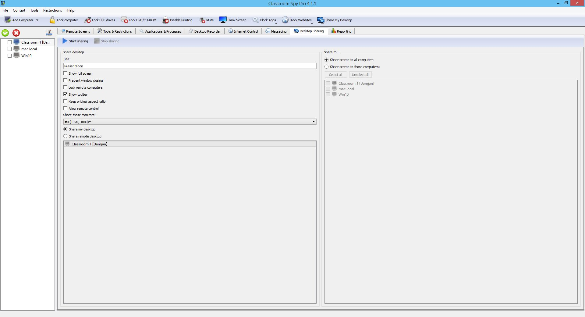 Screenshots of our Classroom Monitoring Tool
